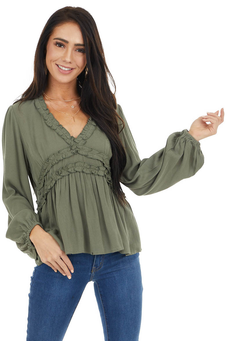 Olive Long Puff Sleeve Babydoll Top with Ruffle Detail