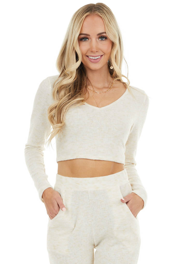 Cream Two Tone Super Soft Knit Crop Top with Long Sleeves