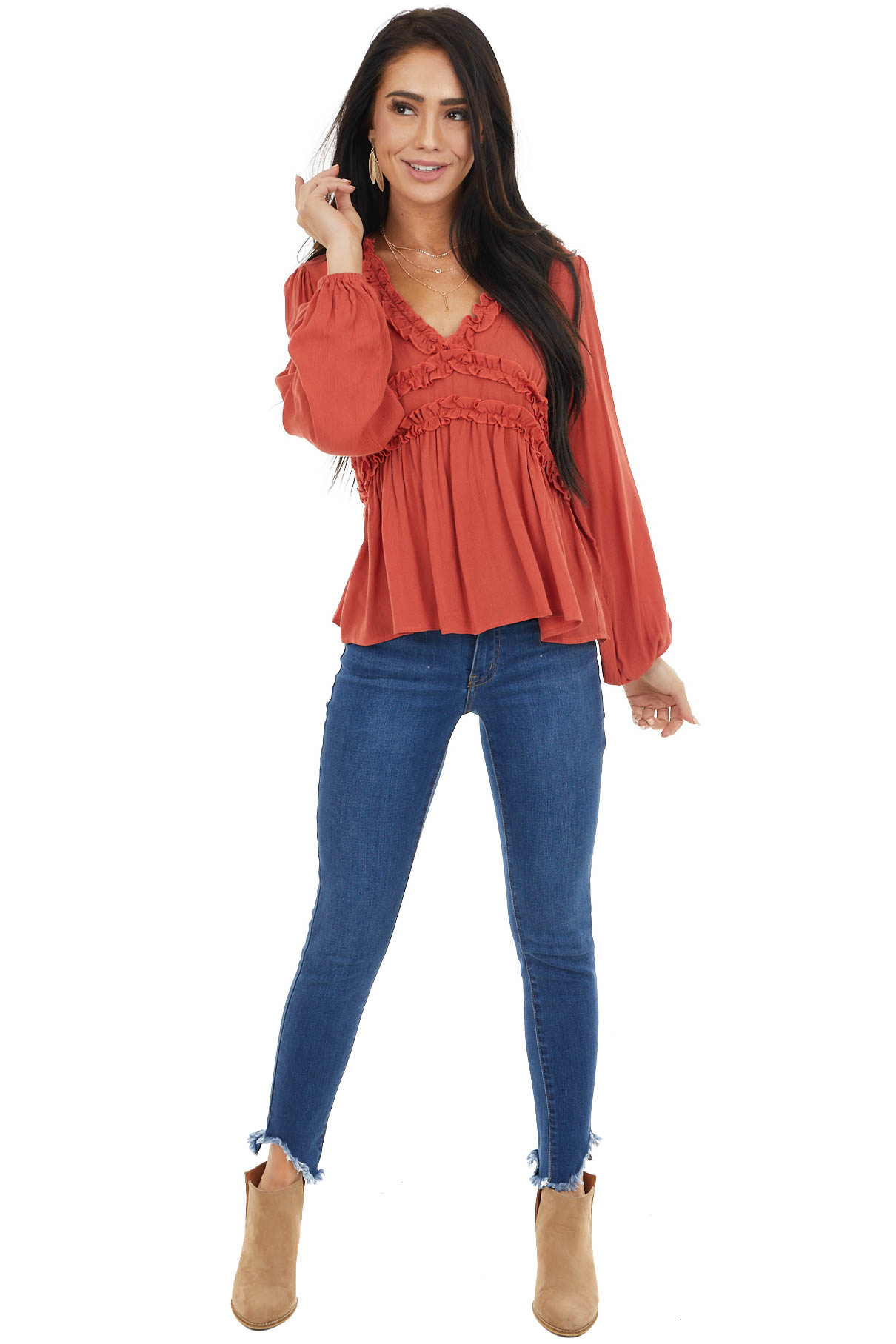 Rust Long Puff Sleeve Babydoll Top with Ruffle Detail