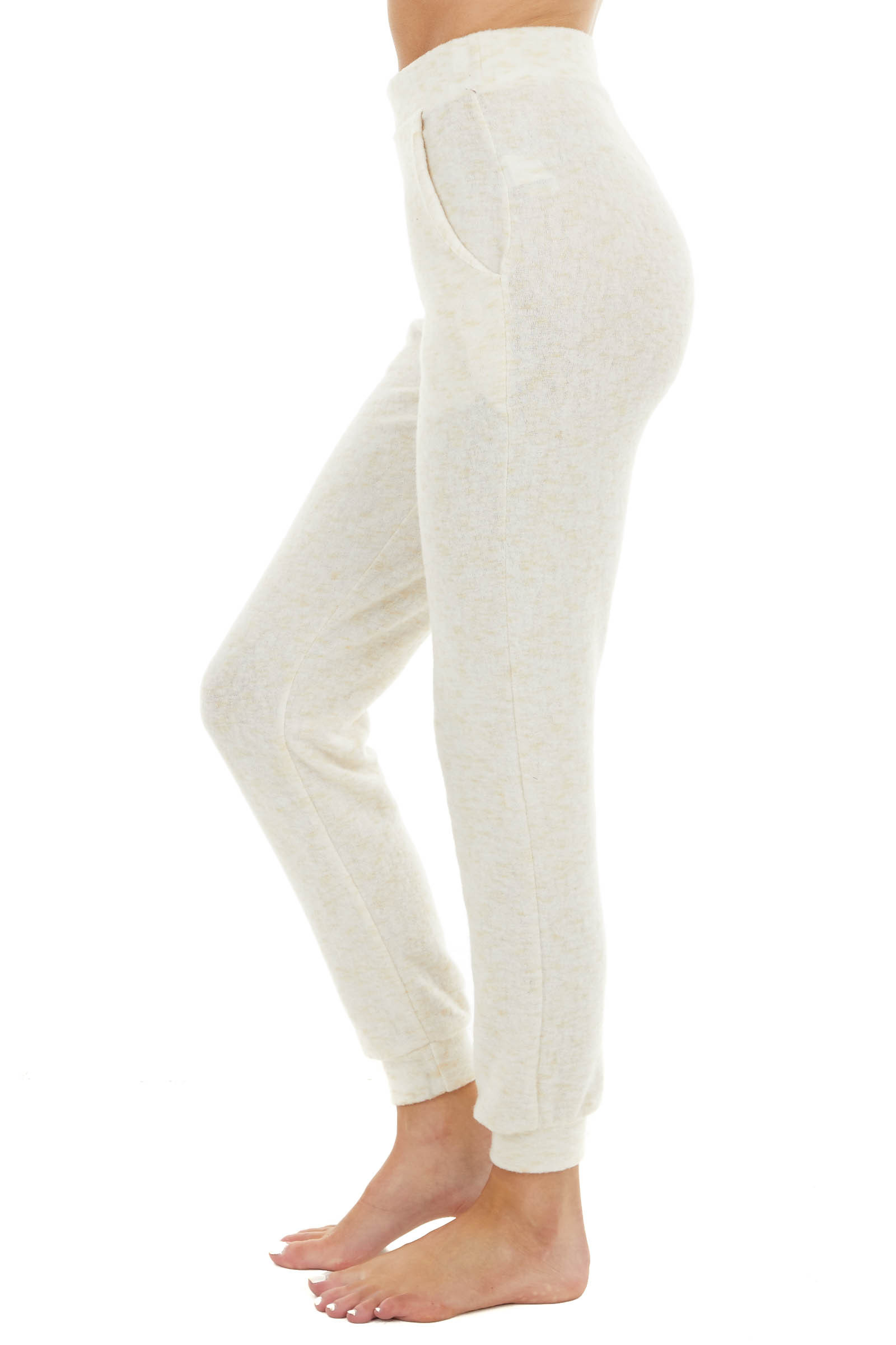 Cream Two Tone Super Soft Knit Joggers with Pockets