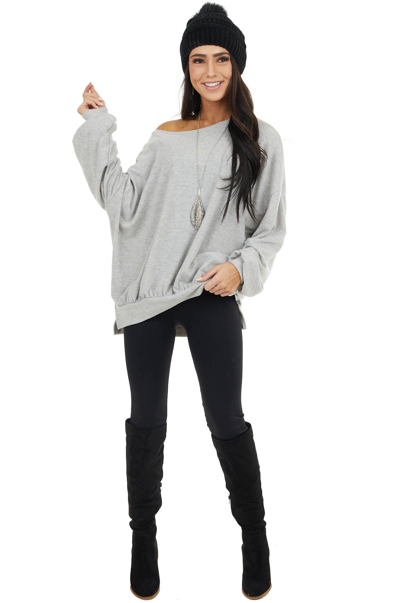 Grey Oversized Long Puff Sleeve Knit Top with Banded Hem
