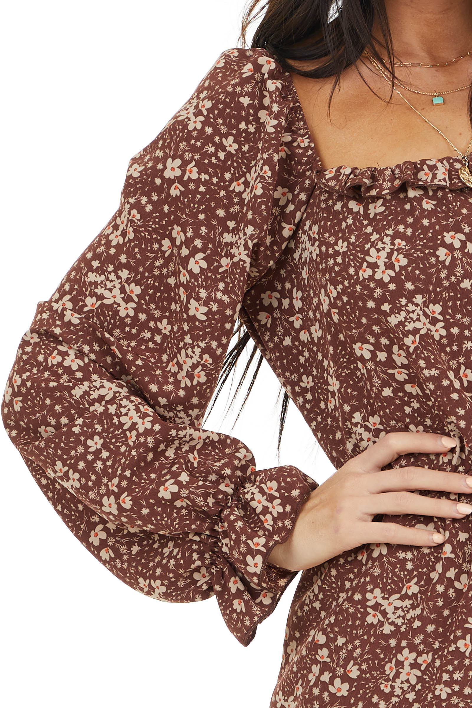 Chocolate Floral Print Long Sleeve Dress with Elastic Waist