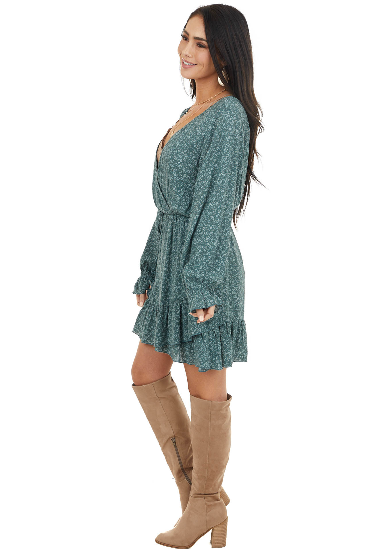 Pine Green Floral Print Long Sleeve Dress with Ruffle Detail