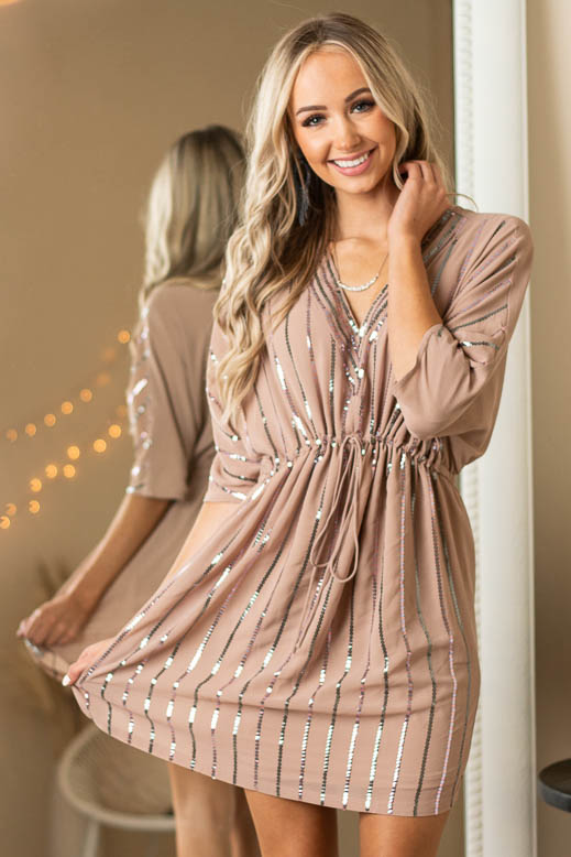 Latte V Neck Mini Dress with Multicolor Sequin Stripes