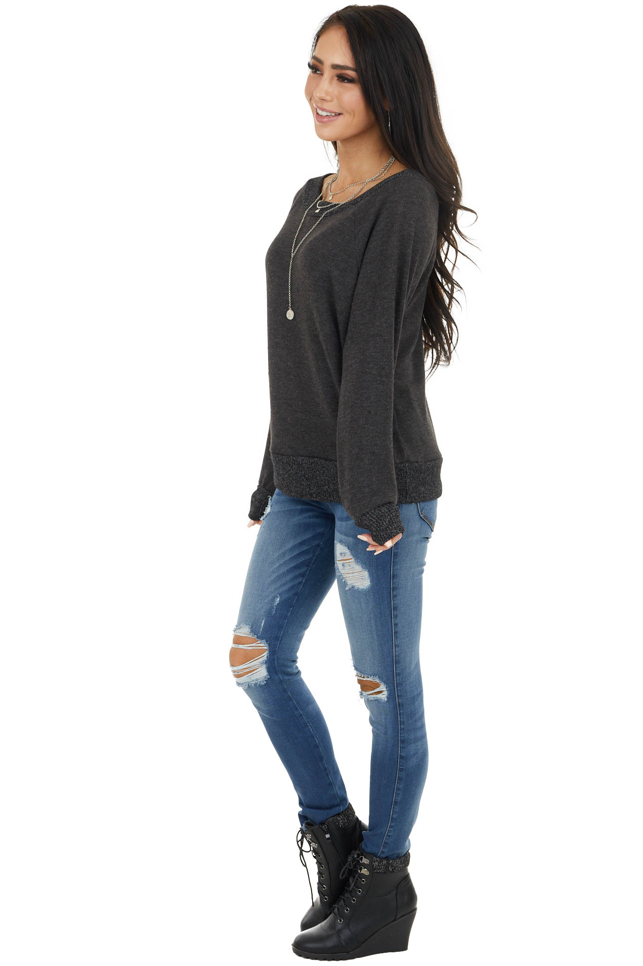 Faded Black Stretchy Boat Neckline Top with Contrast Trim