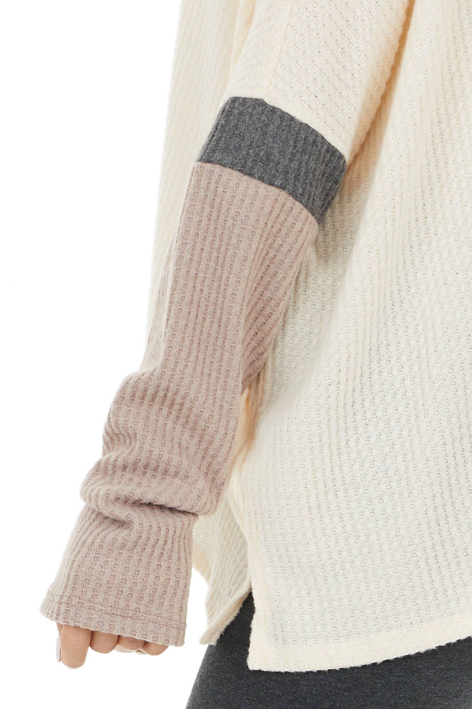 Cream and Mauve Colorblock Long Sleeve Waffle Knit Top