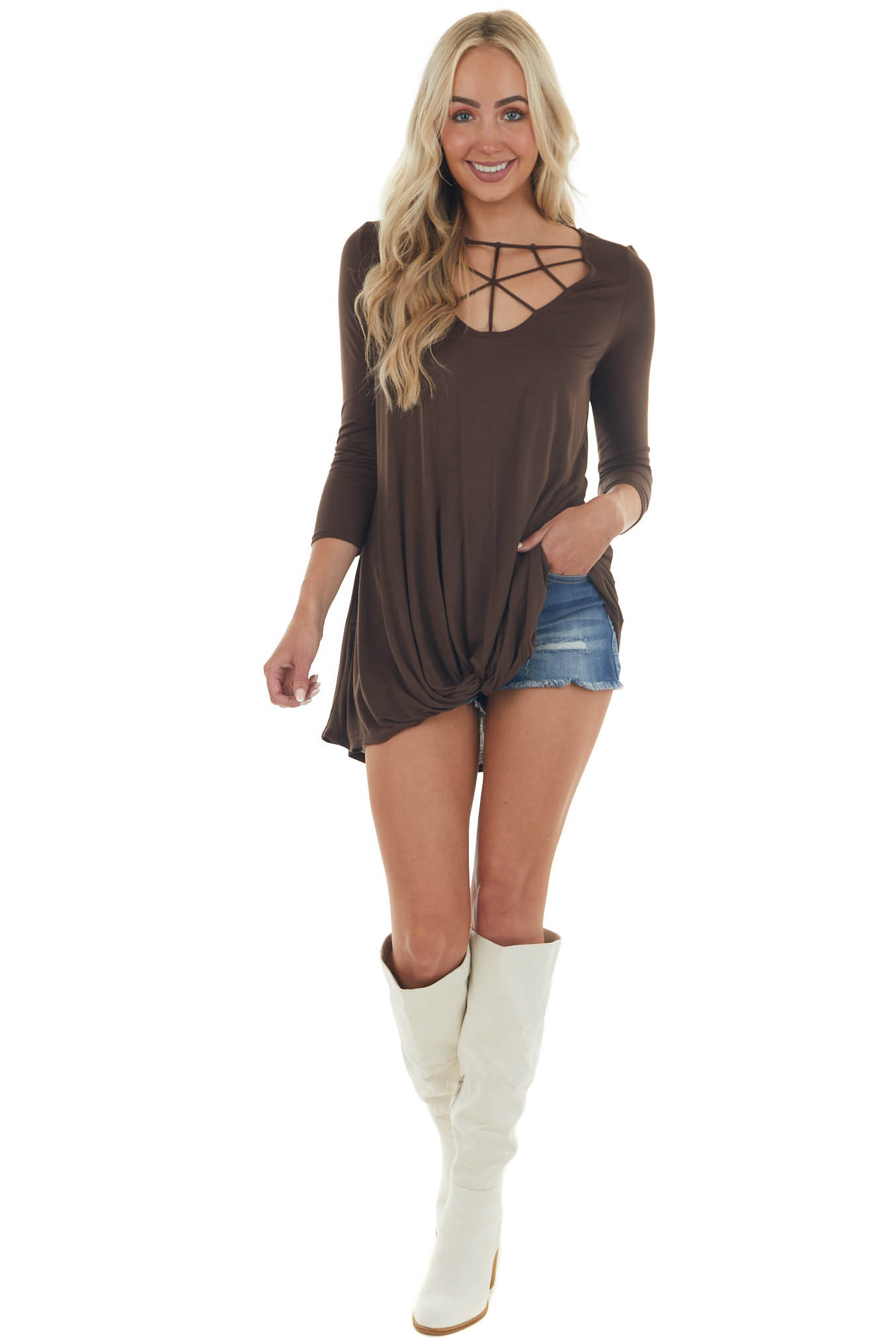 Chocolate Brown 3/4 Sleeve Knit Top with Caged Neckline