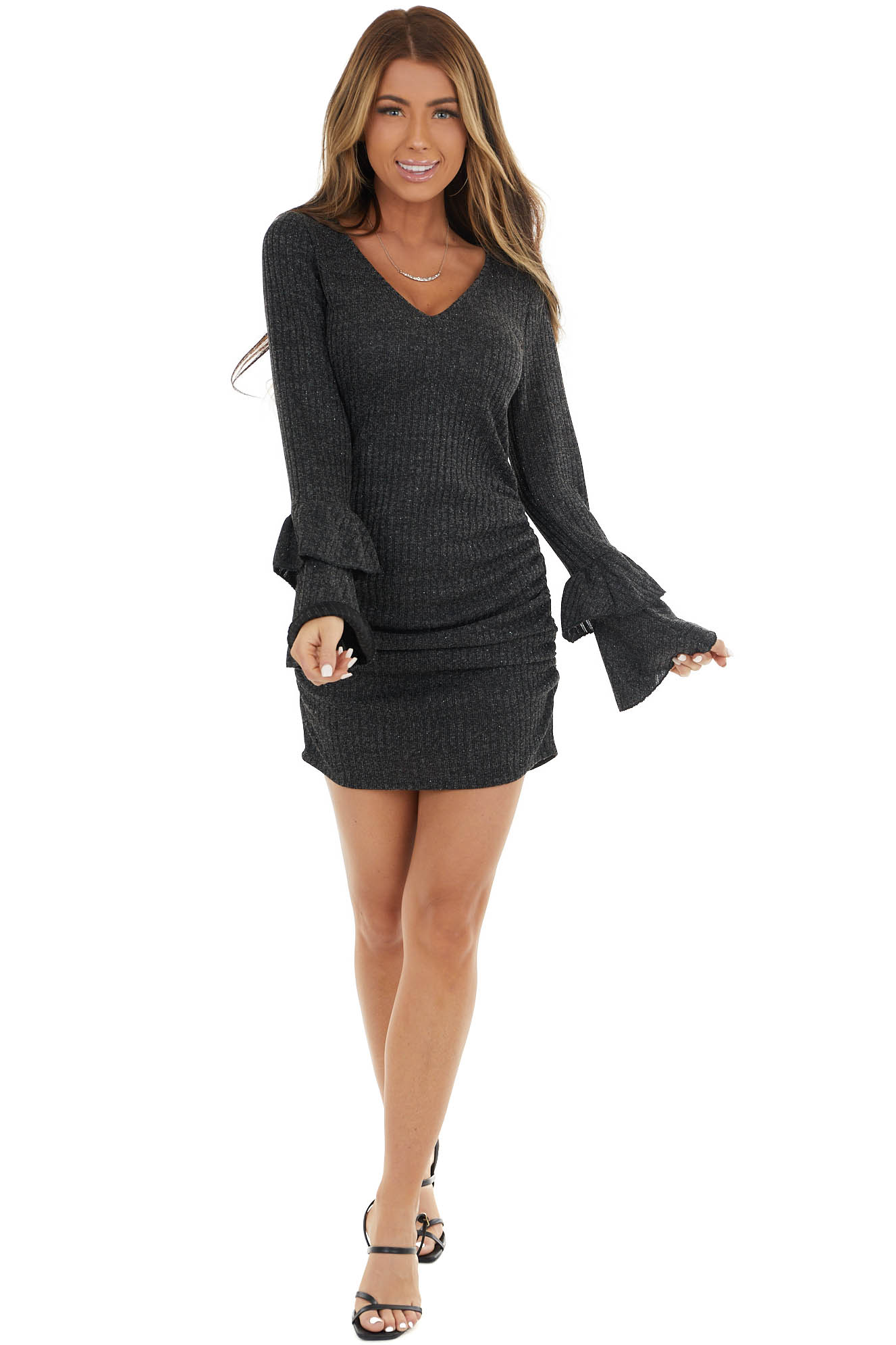 Black Long Sleeve Knit Dress with Sparkle Thread Detail