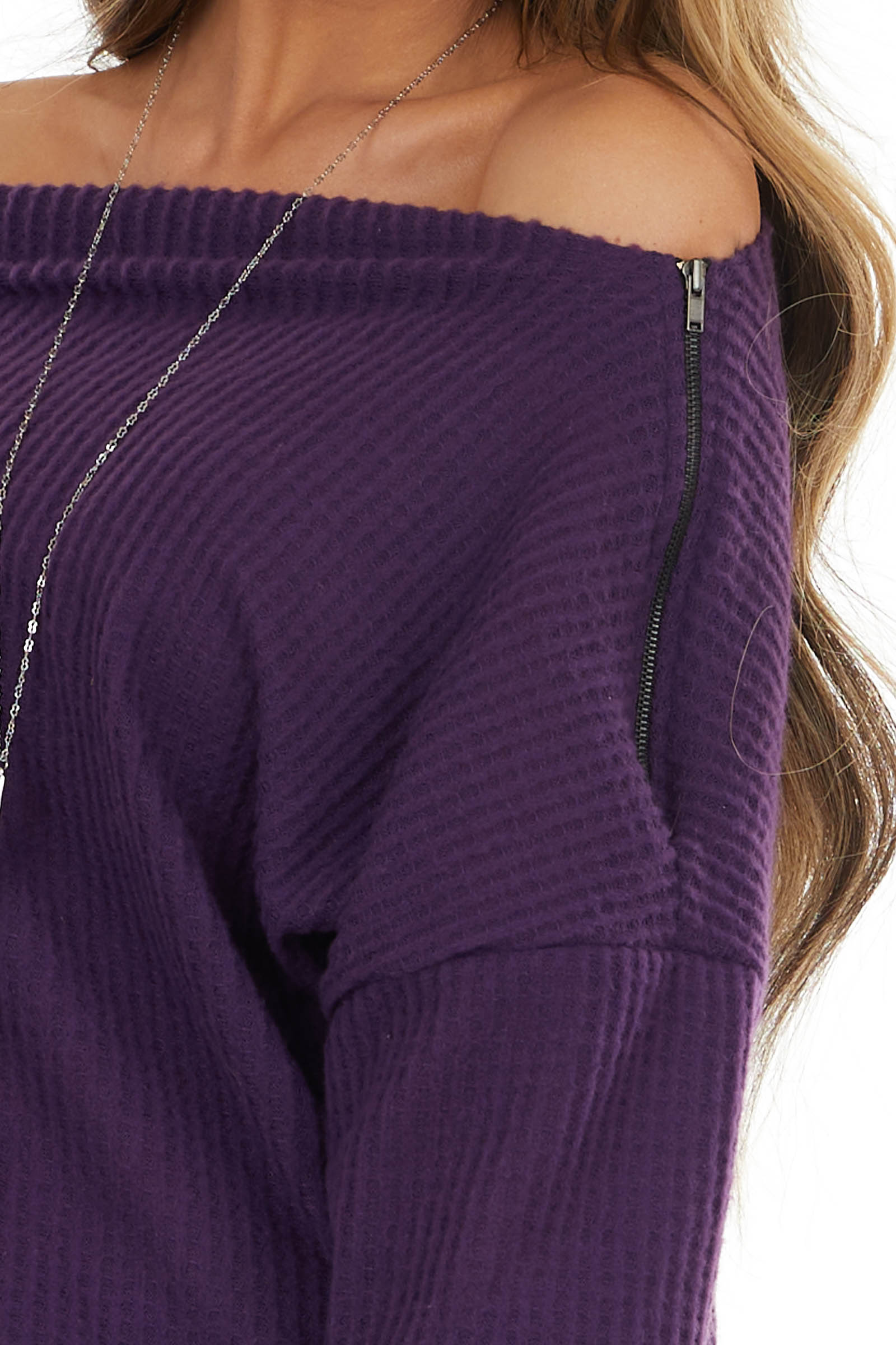 Indigo Off Shoulder Waffle Knit Top with Zipper Detail