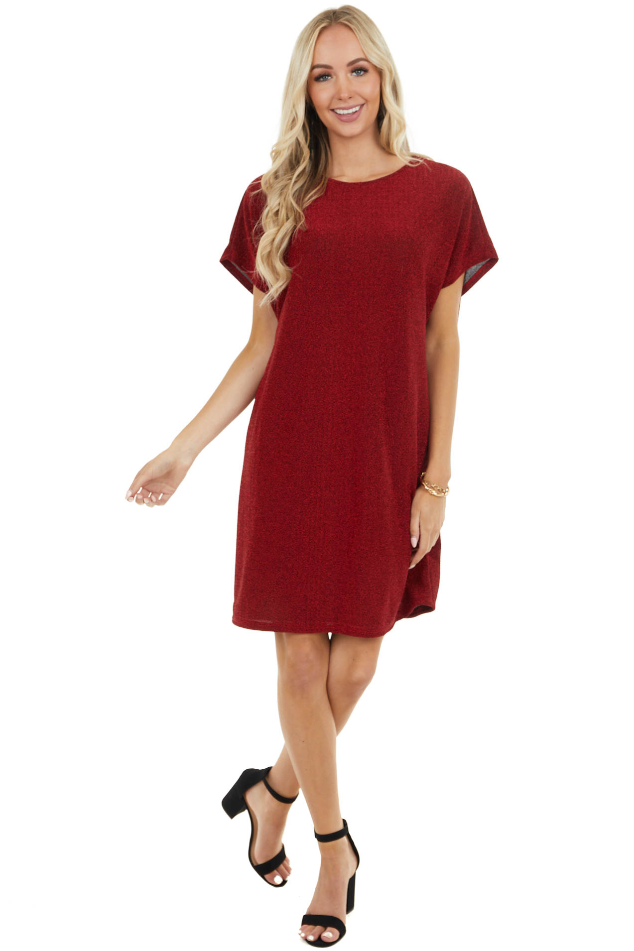Ruby Red Sparkly Short Sleeve Mini Knit Dress