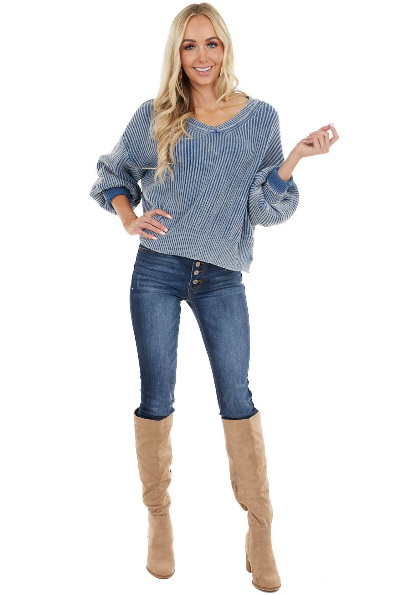 Ocean Blue Two Tone Long Bubble Sleeve Ribbed Knit Sweater