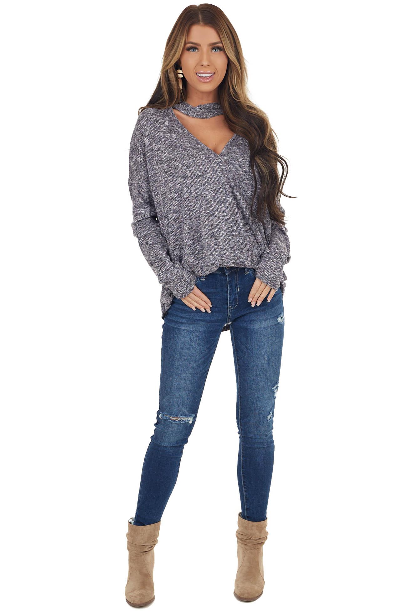 Black Two Tone Surplice Knit Top with Choker Neck Detail