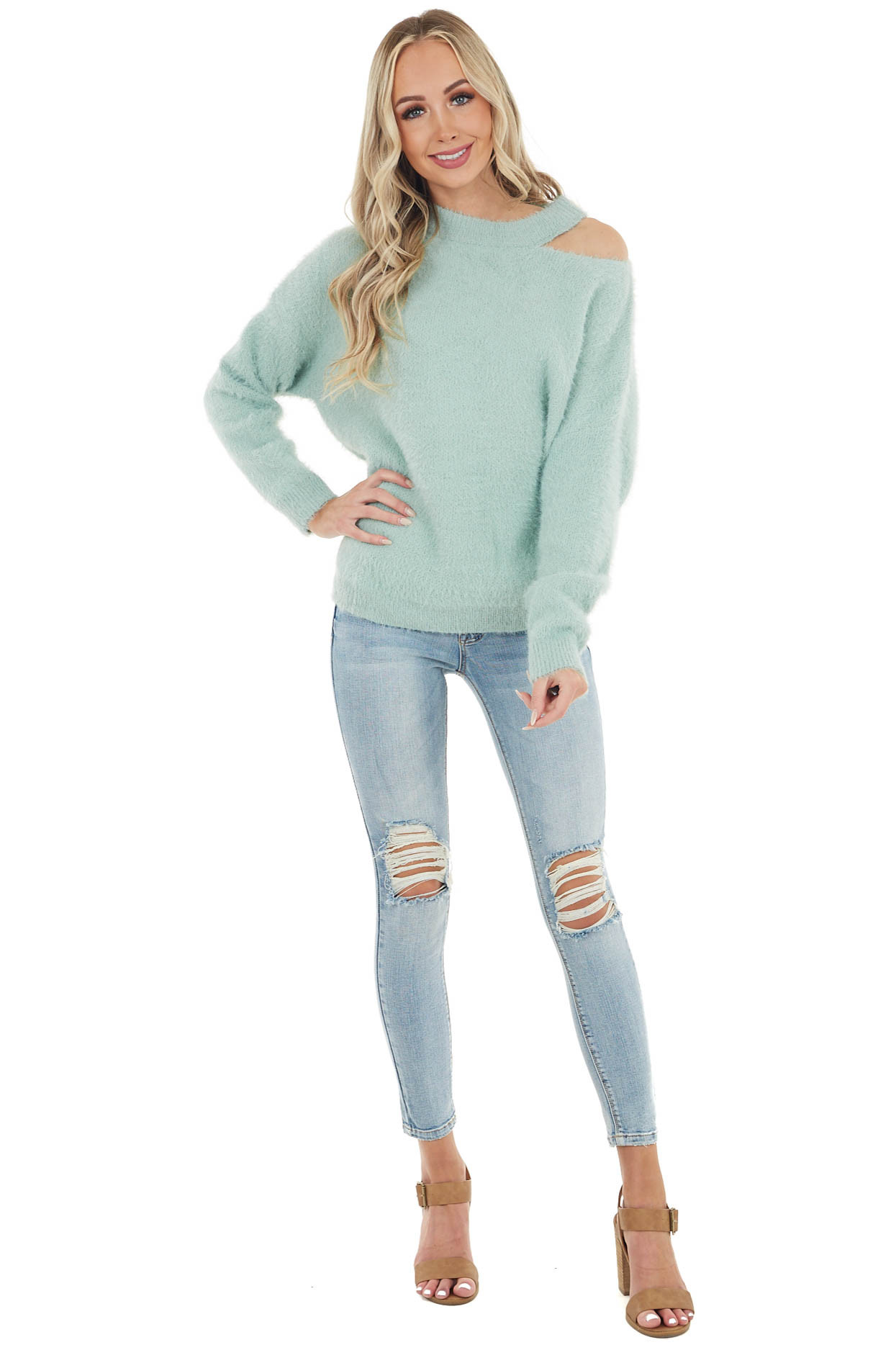 Mint Soft Fuzzy Knit Sweater with Cutout Detail