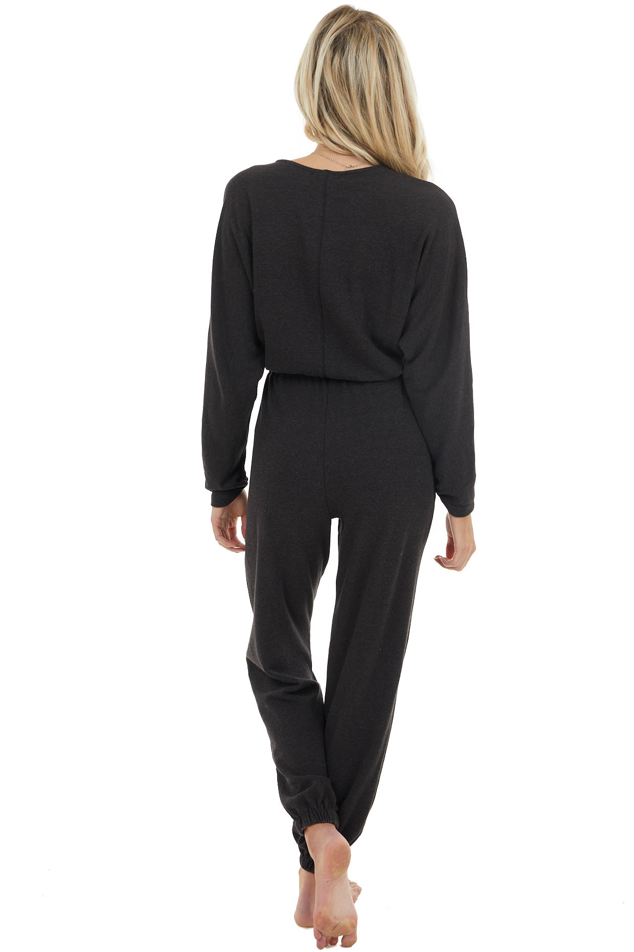Black Surplice Jumpsuit with Tie Details and Pockets