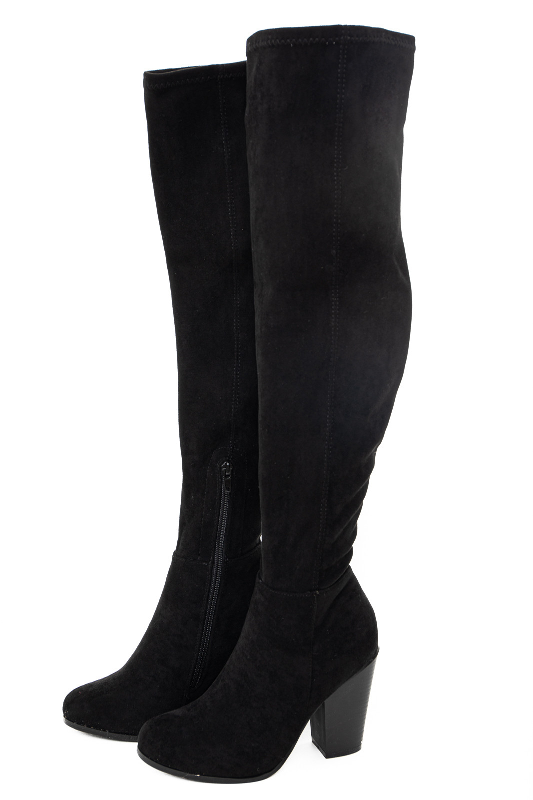 Black Knee High Boots with Side Zipper and Chunky Heel