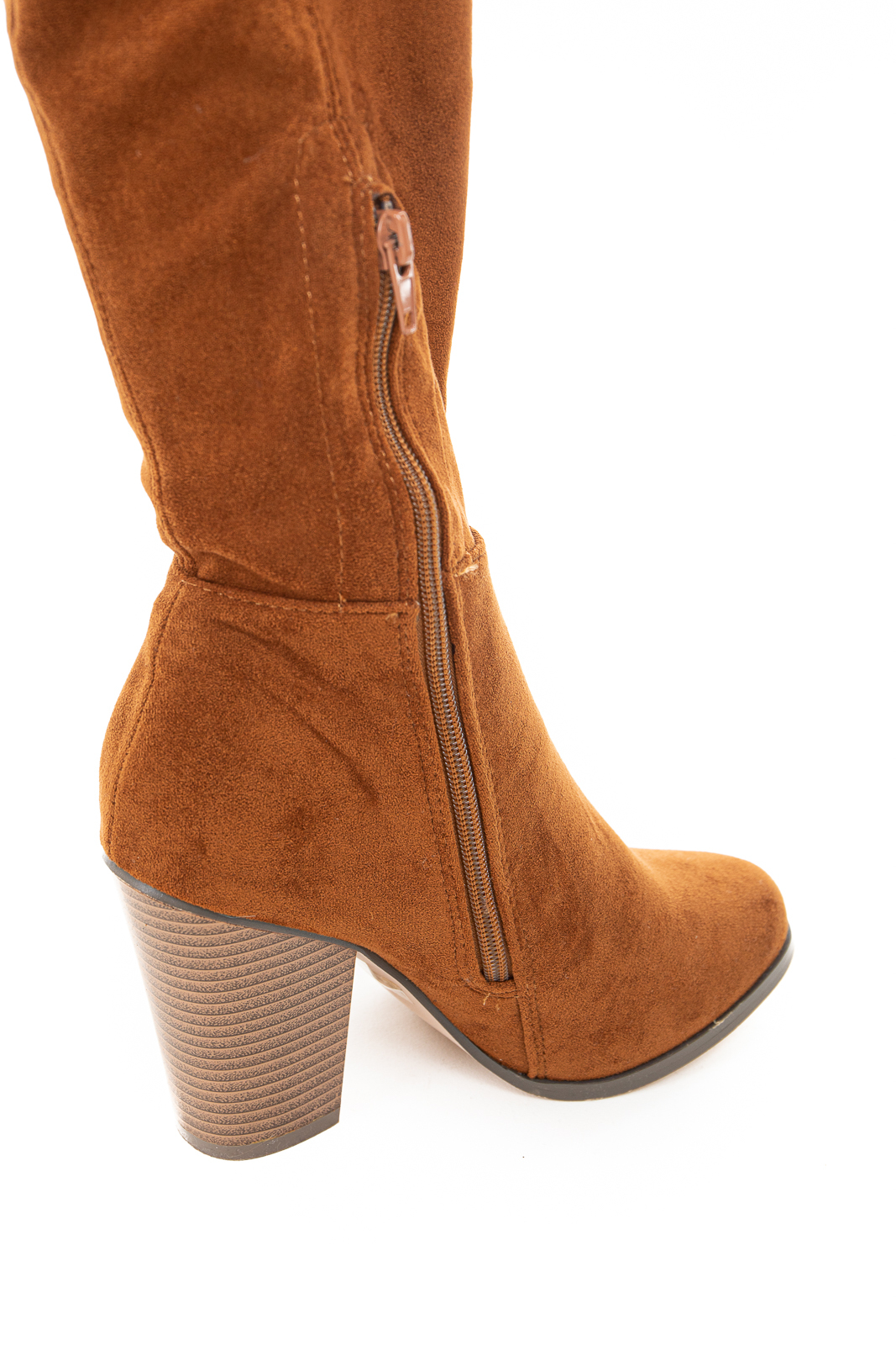 Caramel Knee High Boots with Side Zipper and Chunky Heel