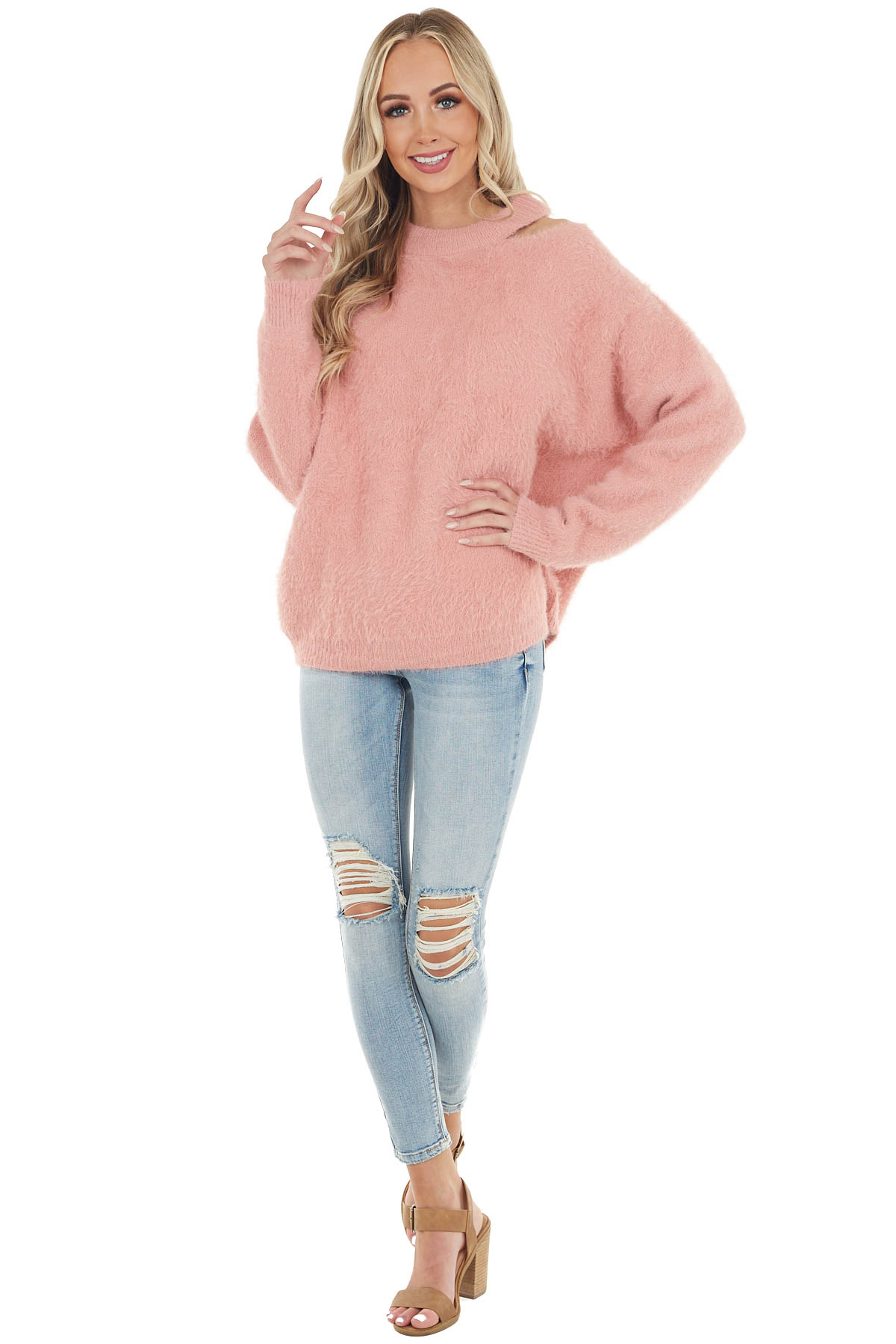 Dusty Blush Soft Fuzzy Knit Sweater with Cutout Detail