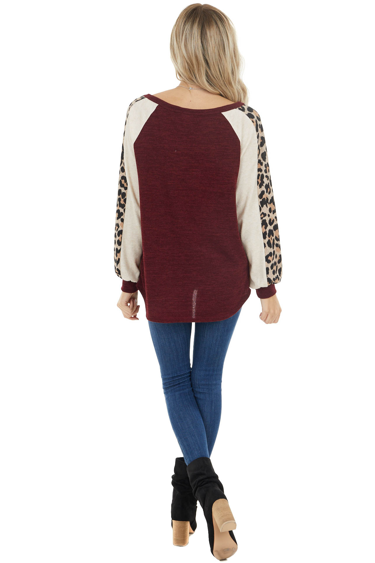 Burgundy and Oatmeal Long Sleeve Top with Leopard Detail