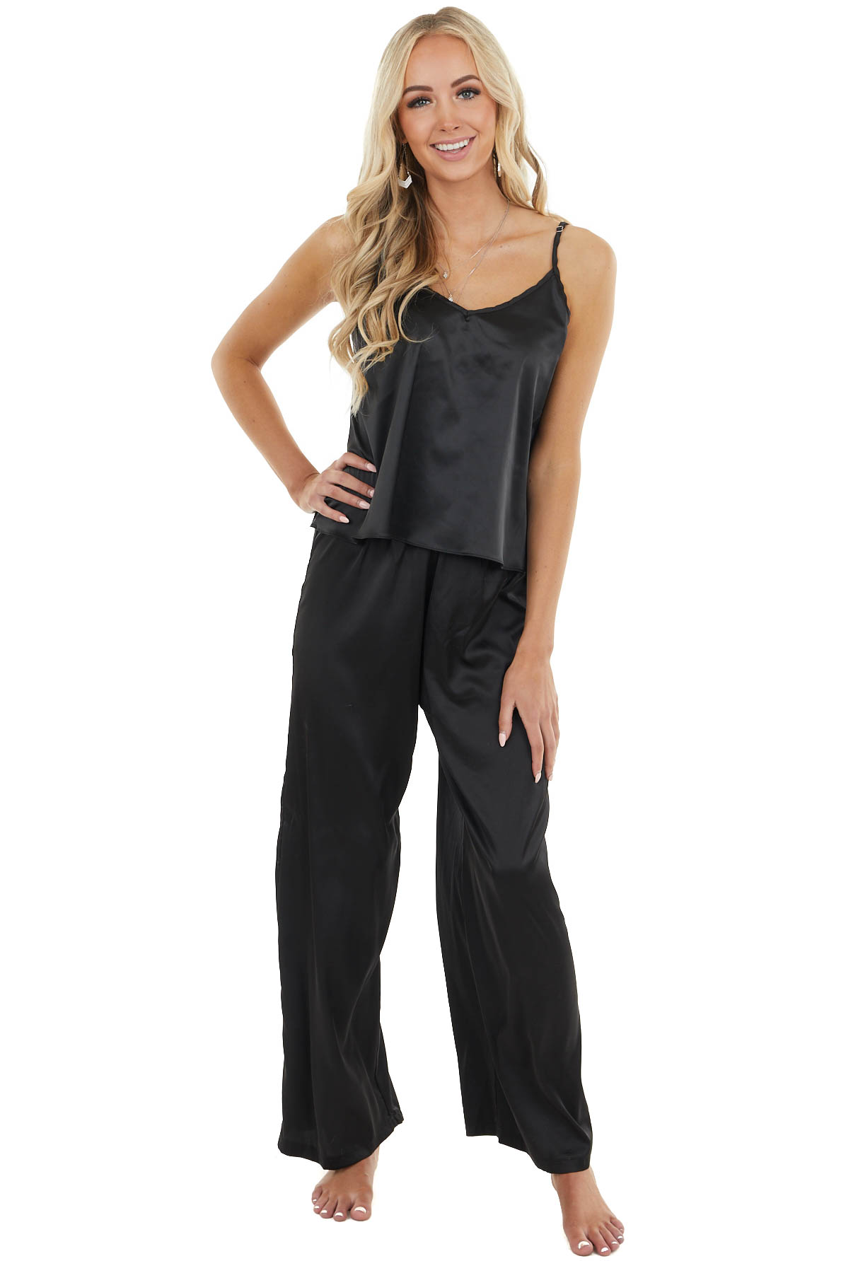 Black Silky Camisole and Flare Bottom Pant Pajama Set
