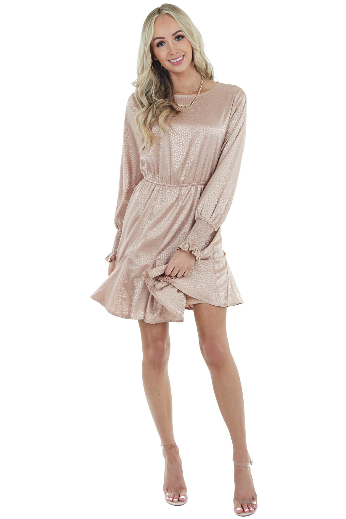 Dusty Blush Cheetah Print Long Sleeve Mini Dress with Pleats