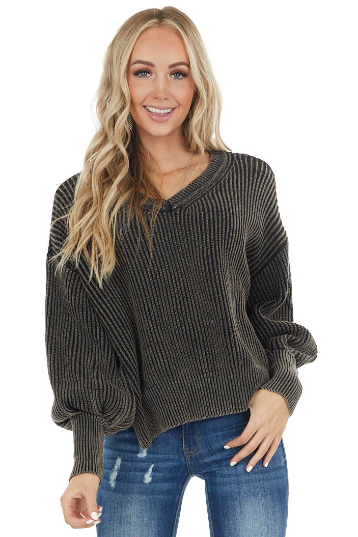 Ash Grey Two Tone Long Bubble Sleeve Ribbed Knit Sweater