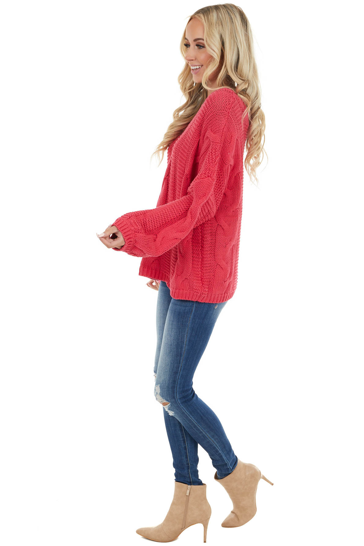 Dark Pink Oversized Cable Knit Sweater with Long Sleeves