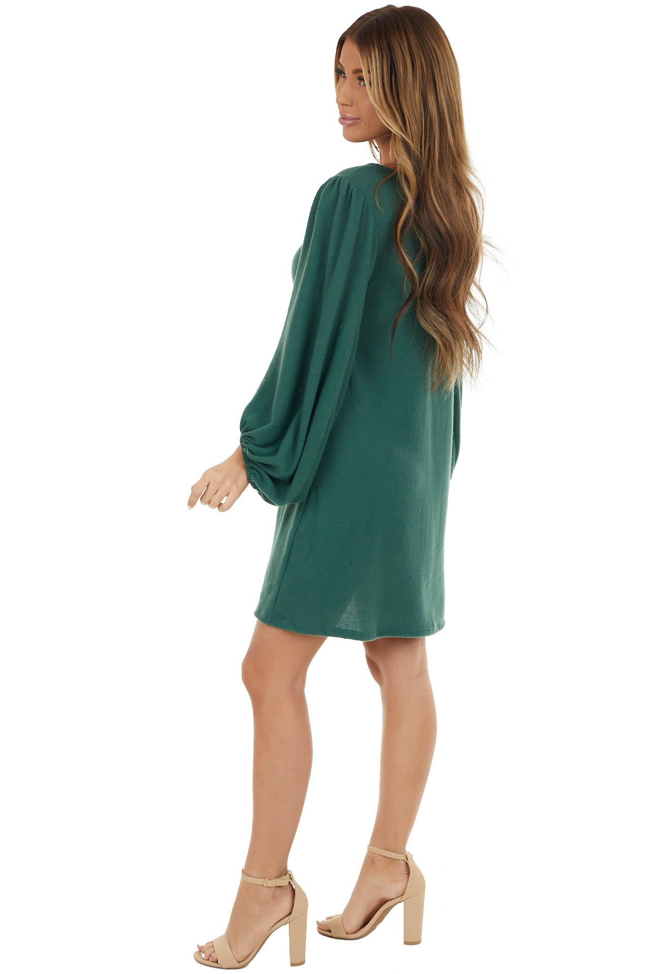 Hunter Green Long Bubble Sleeve Knit Dress with Elastic Cuff