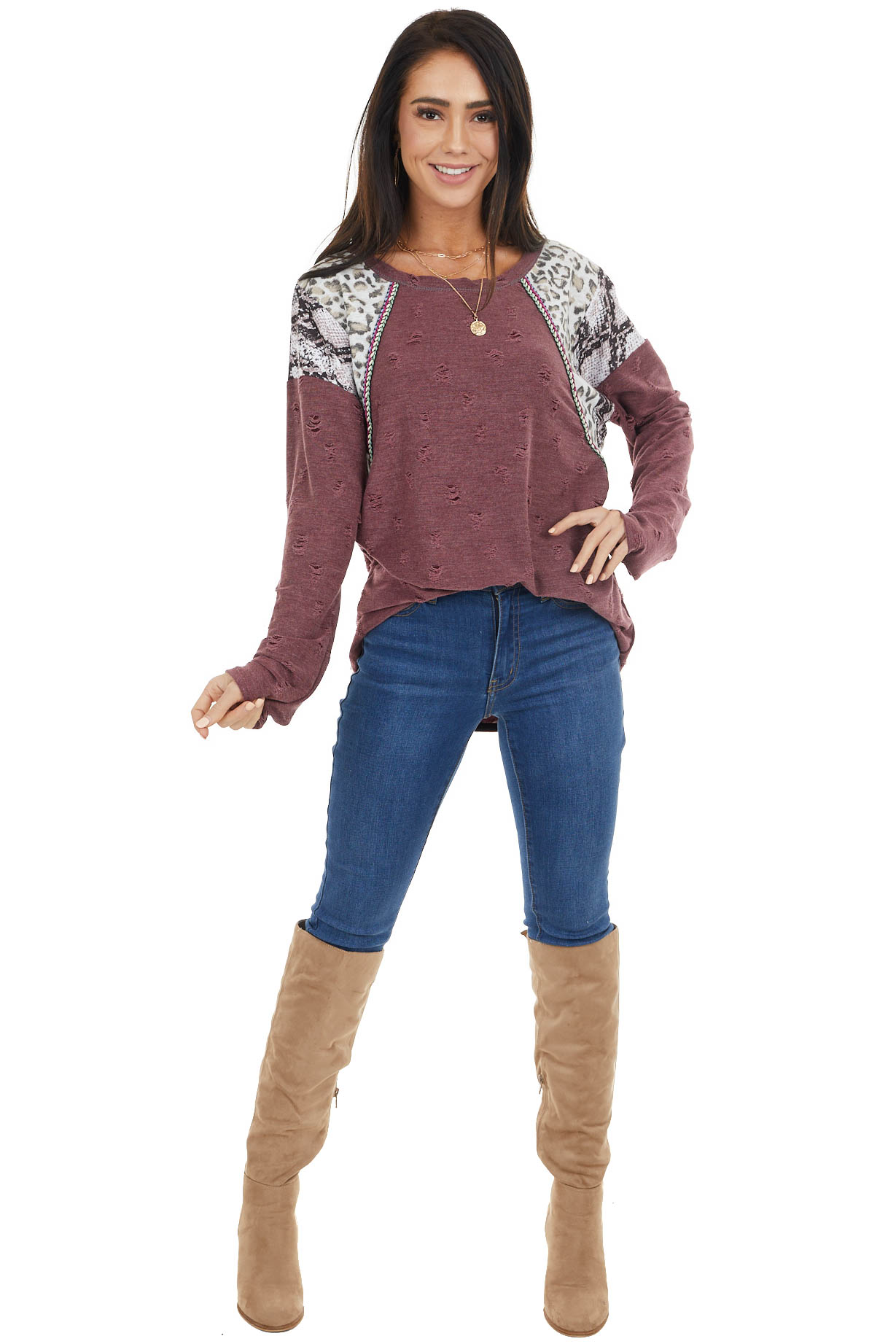 Plum Distressed Knit Top with Leopard and Snake Print