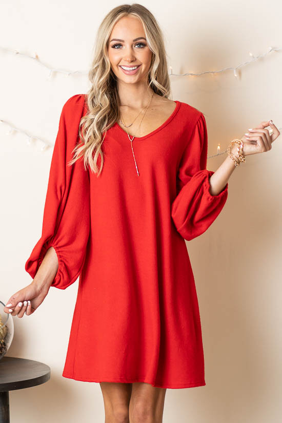 Crimson Long Bubble Sleeve Knit Dress with Elastic Cuff