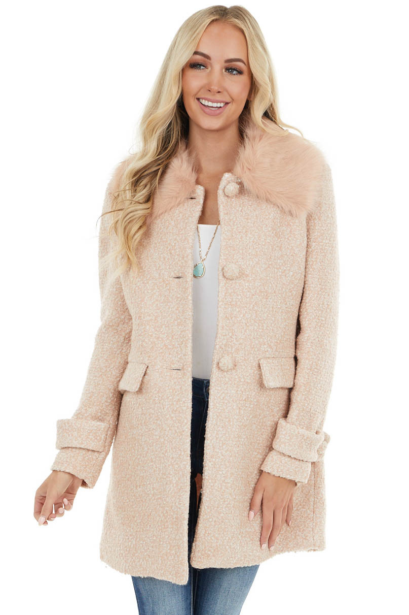 Blush Pink Woven Button Up Peacoat Jacket with Faux Fur Neck