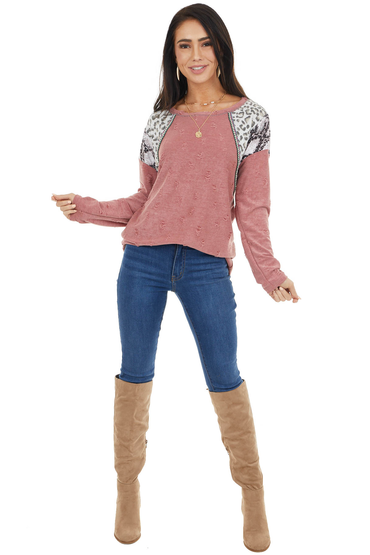 Marsala Distressed Knit Top with Leopard and Snake Print