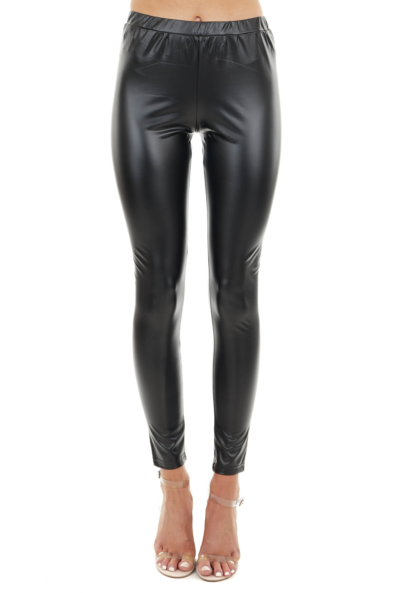 Black Faux Leather Skinny Fit High Waisted Leggings