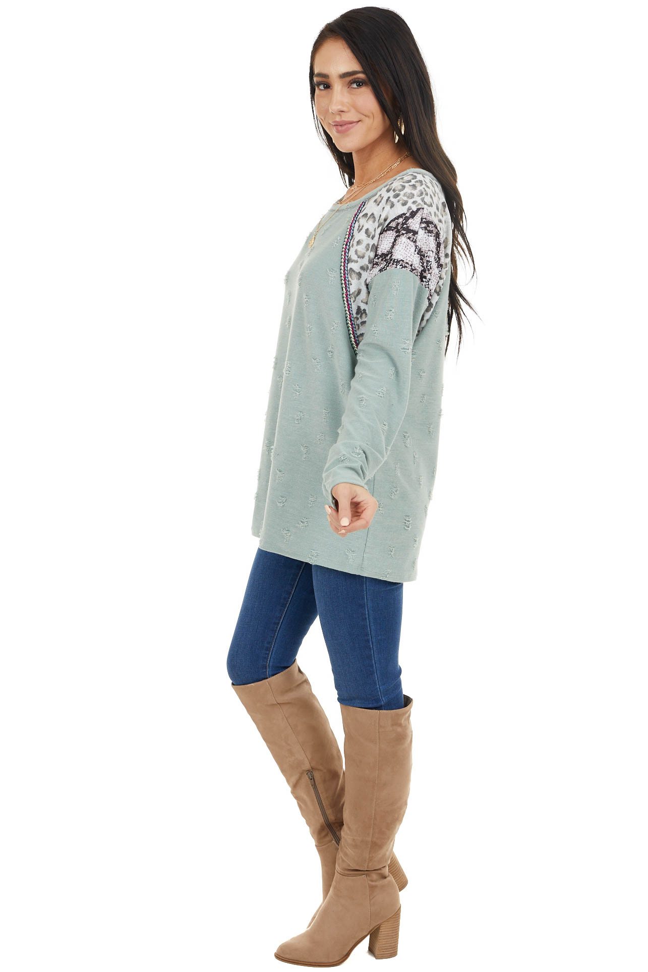 Sage Distressed Knit Top with Leopard and Snake Print
