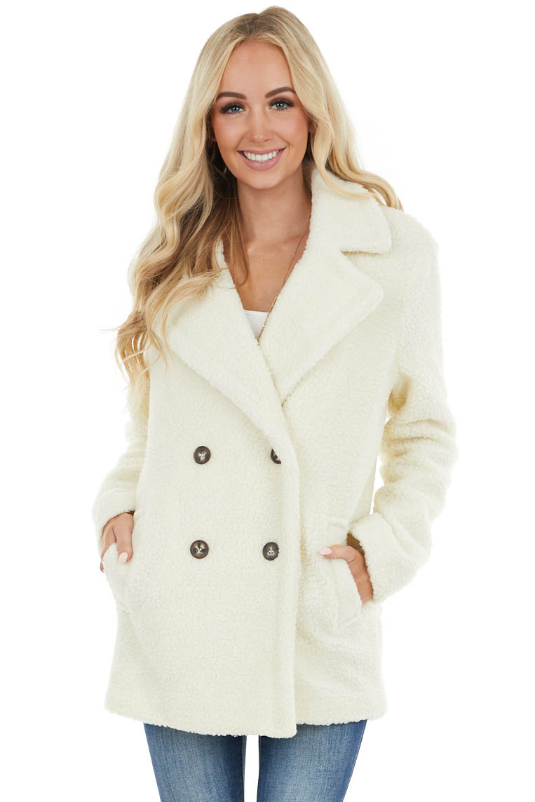 Ivory Long Sleeve Fuzzy Coat with Double Button Closure