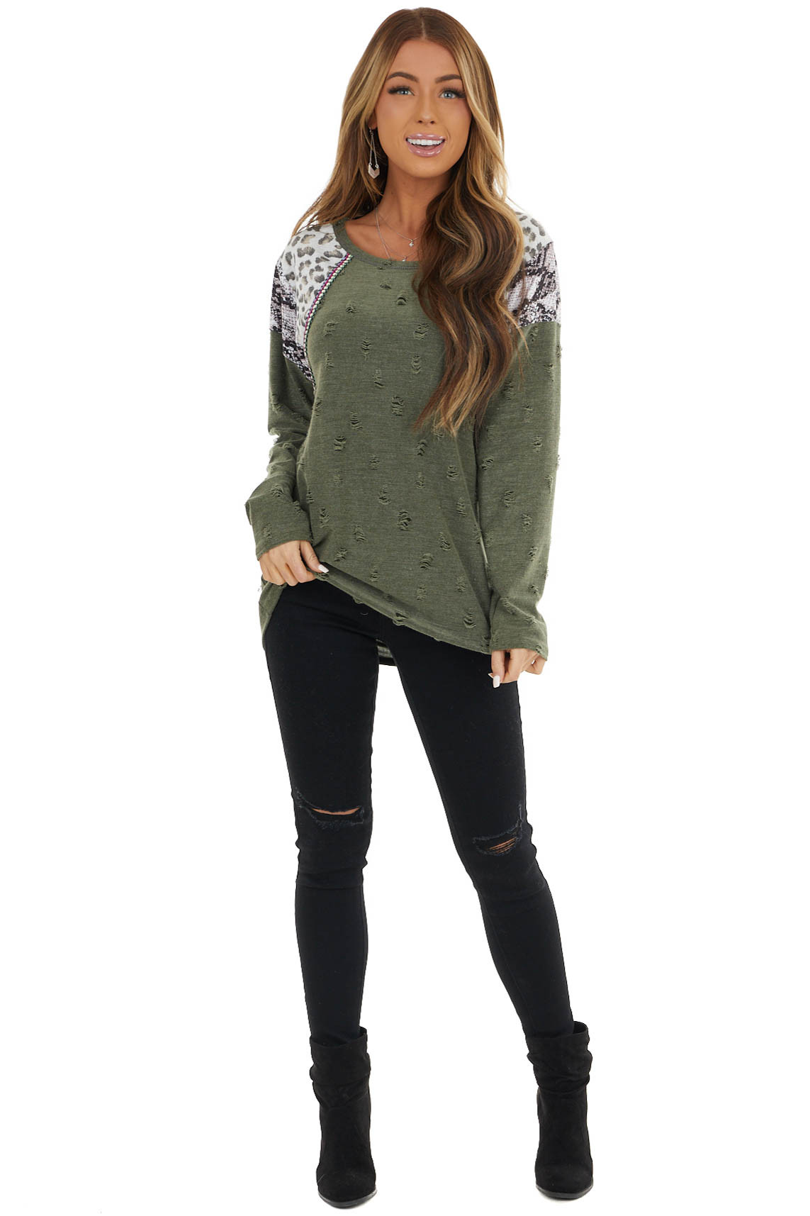 Olive Distressed Top with Leopard and Snake Print
