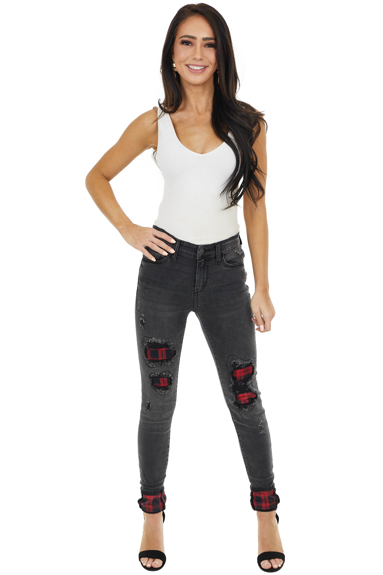 Faded Black Mid Rise Jeans with Plaid Patches and Cuffs