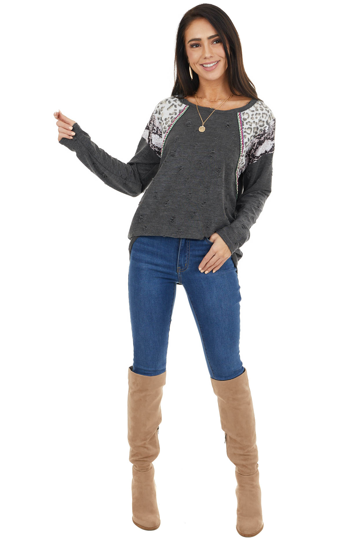 Charcoal Distressed Top with Leopard and Snake Print