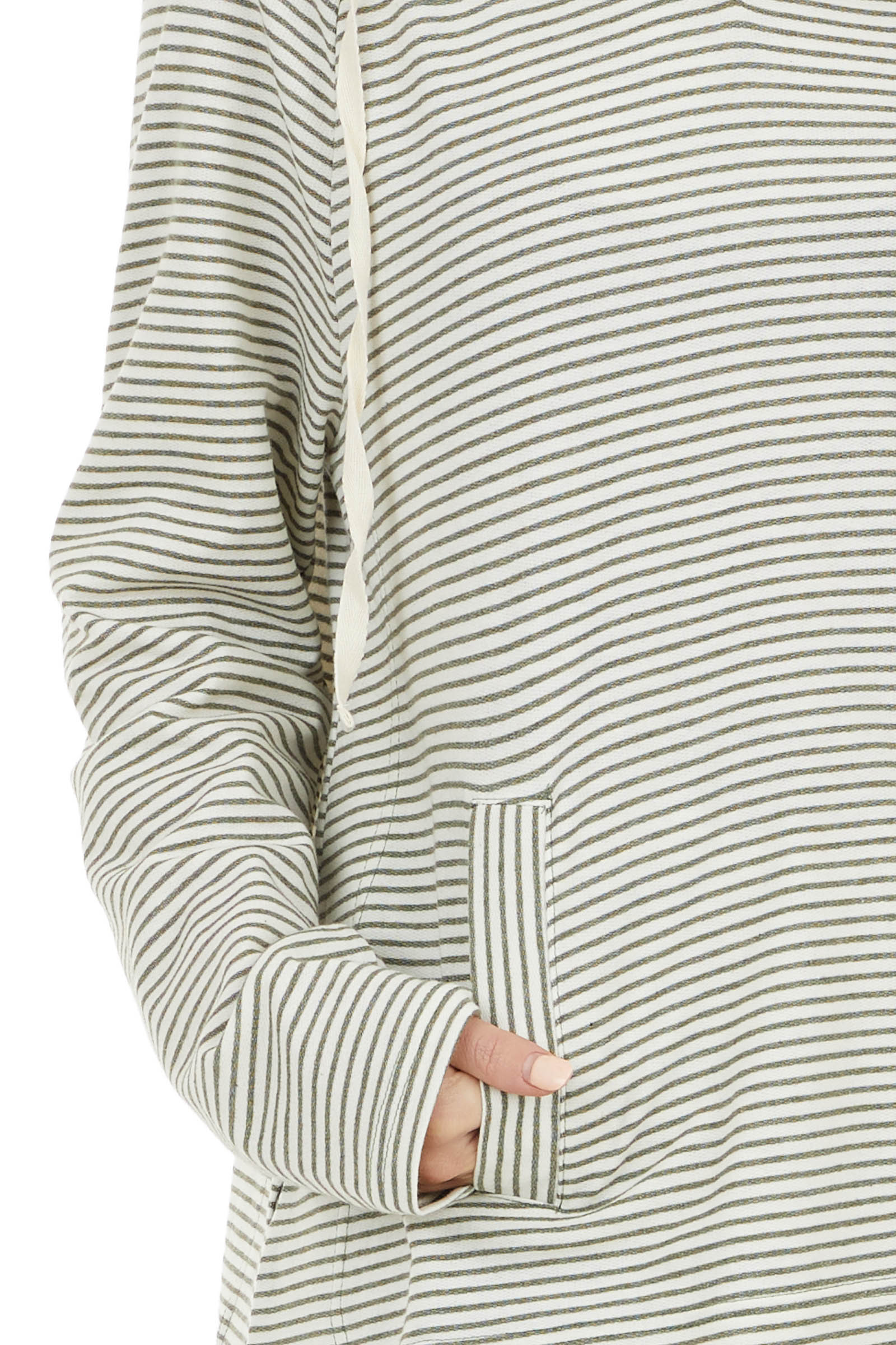 Sage and Ivory Striped Long Sleeve Lightweight Hoodie