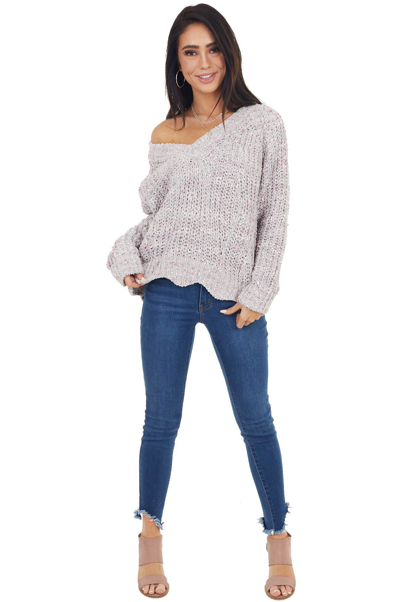Dove Grey and Pink Chenille Knit Long Sleeve V Neck Sweater