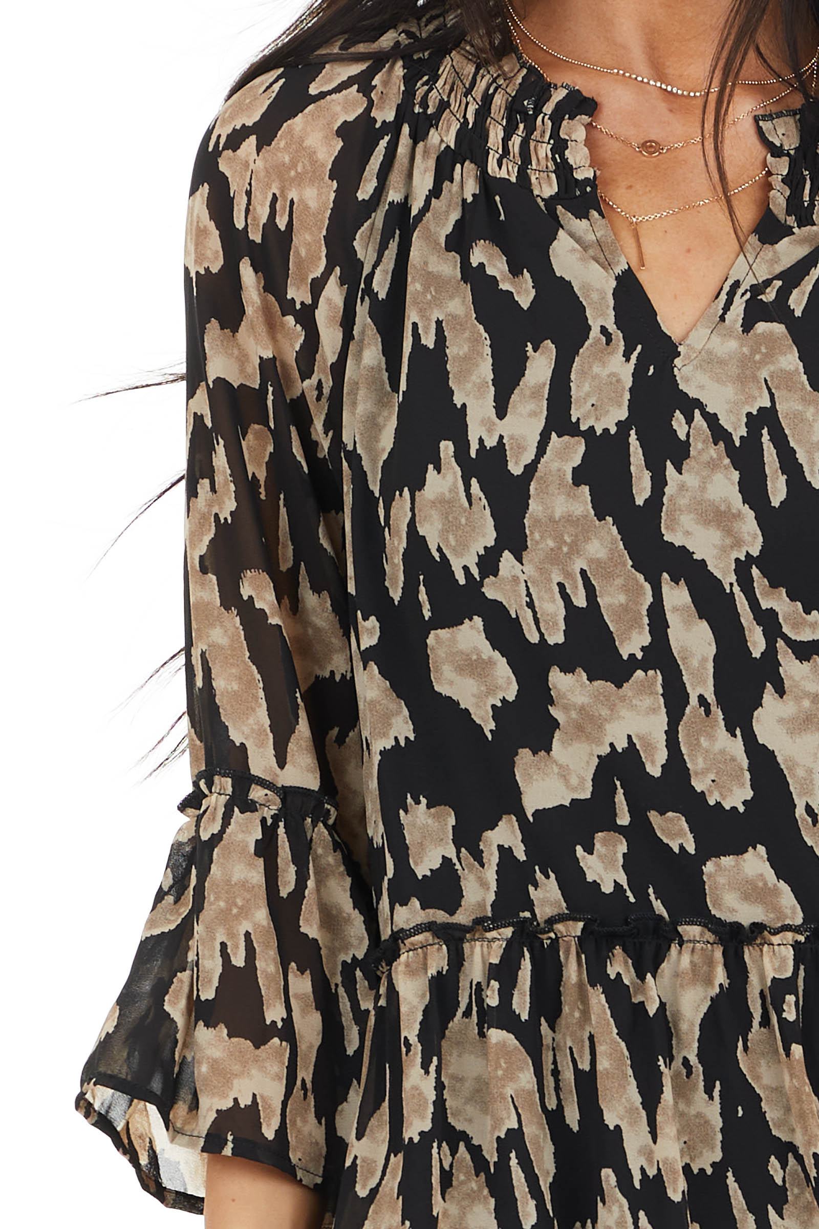 Black and Latte Printed Drop Waist Top with Ruffle Details