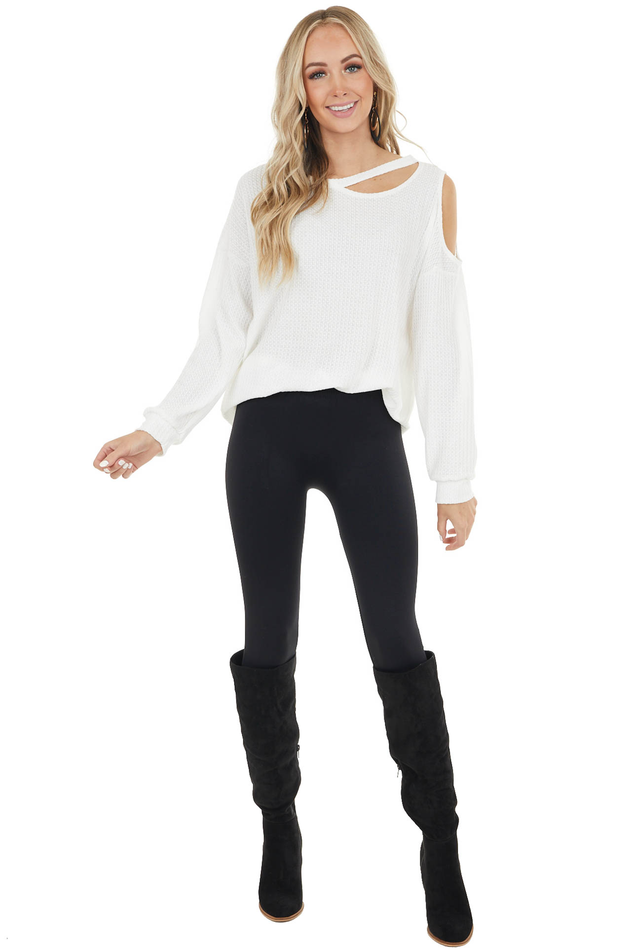 Ivory Waffle Knit Single Cold Shoulder Top with Neck Cutout