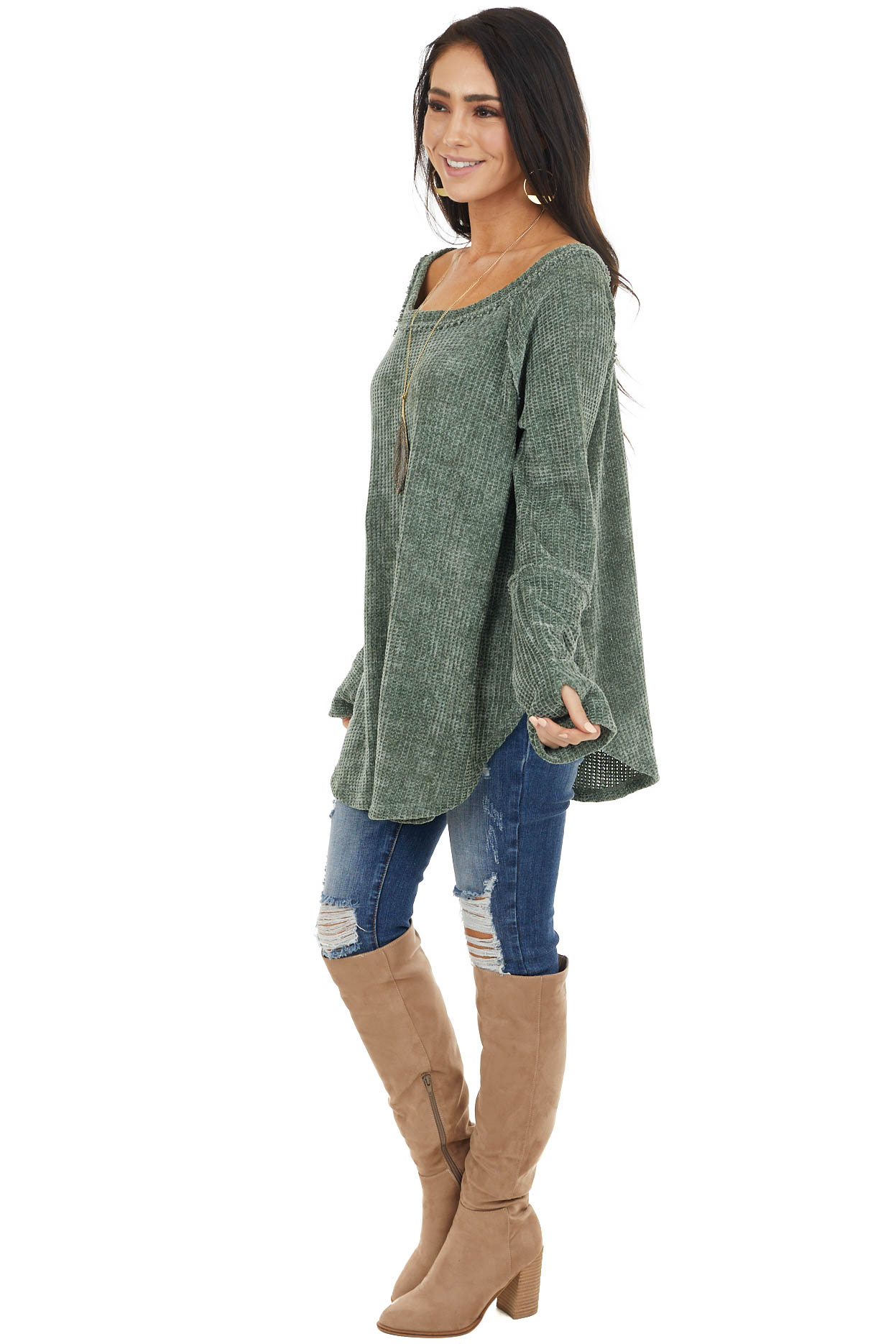 Dark Sage Chenille Long Sleeve Sweater with Thumb Holes