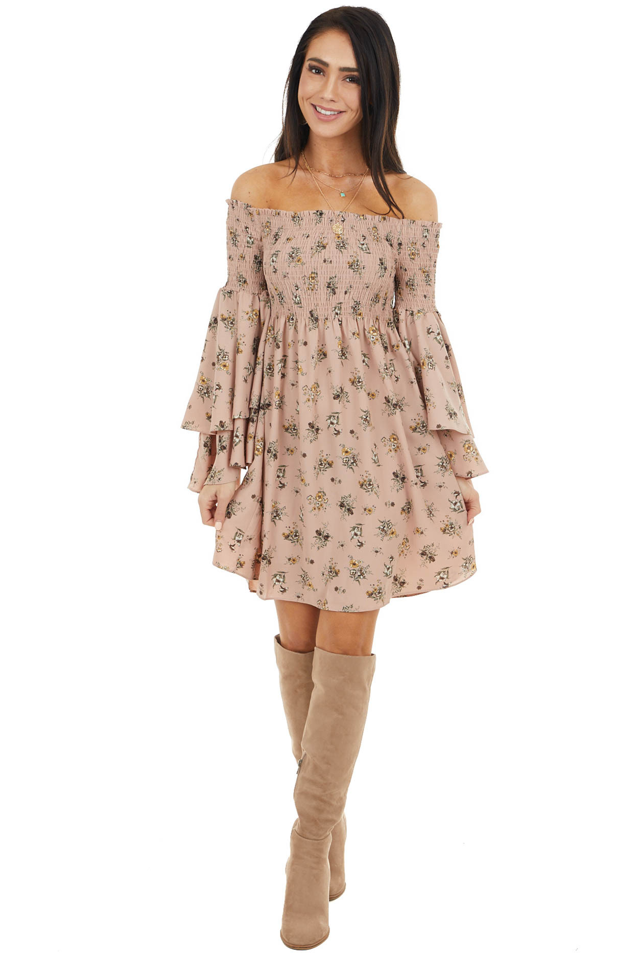Dusty Rose Floral Print Off the Shoulder Mini Dress