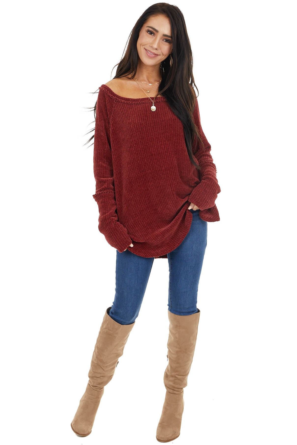 Maroon Chenille Long Sleeve Knit Top with Thumb Holes