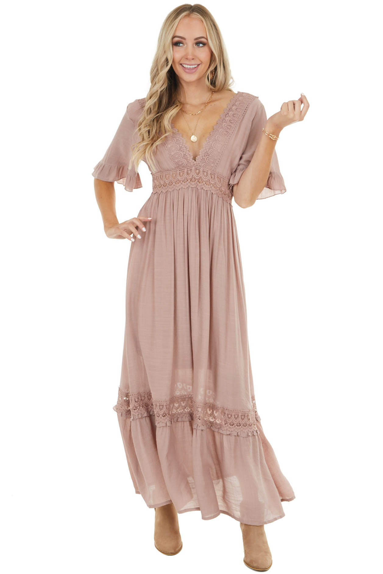 Dusty Rose Short Ruffle Sleeve Maxi Dress with Lace Details