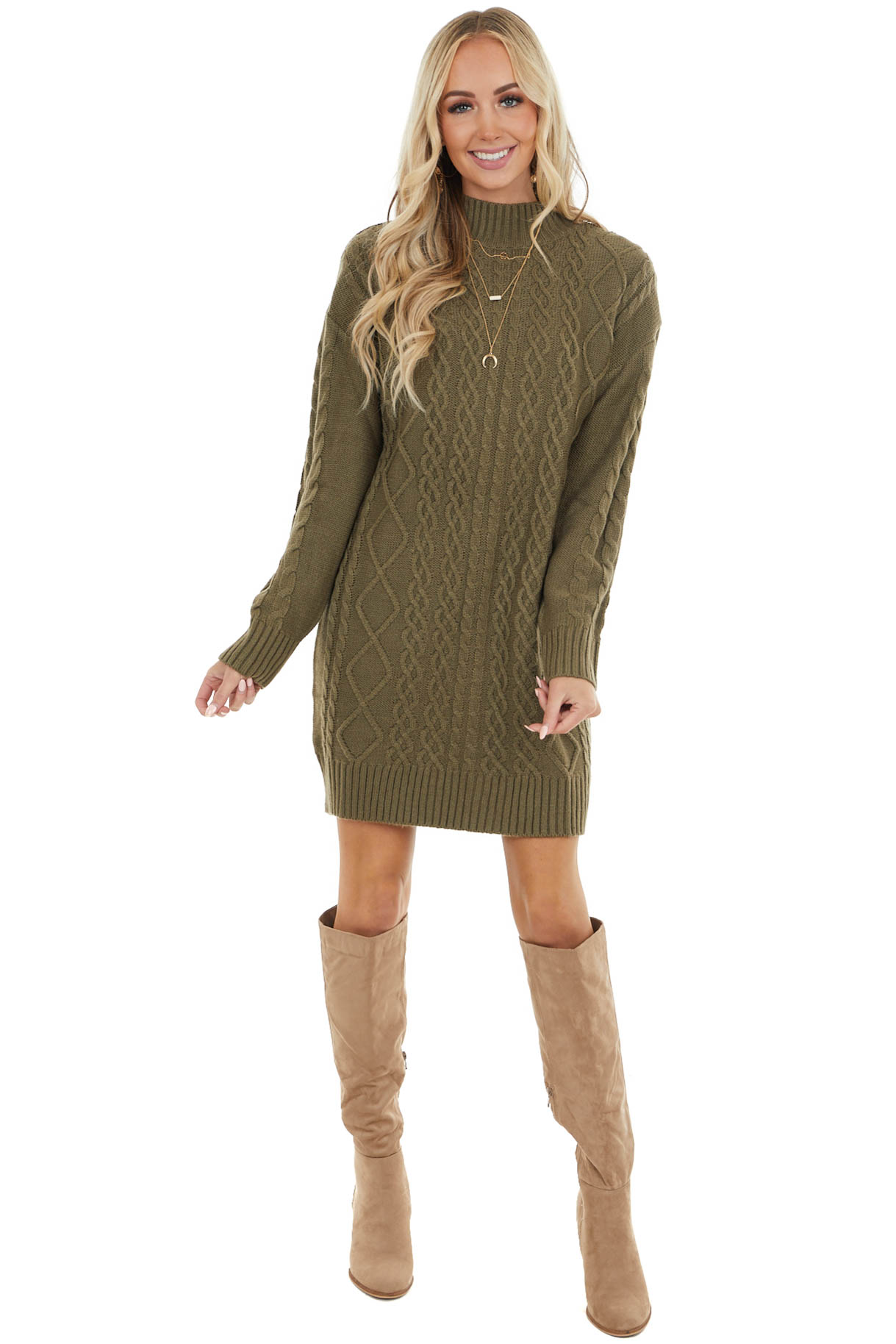 Olive Cable Knit Sweater Dress with Mock Neckline