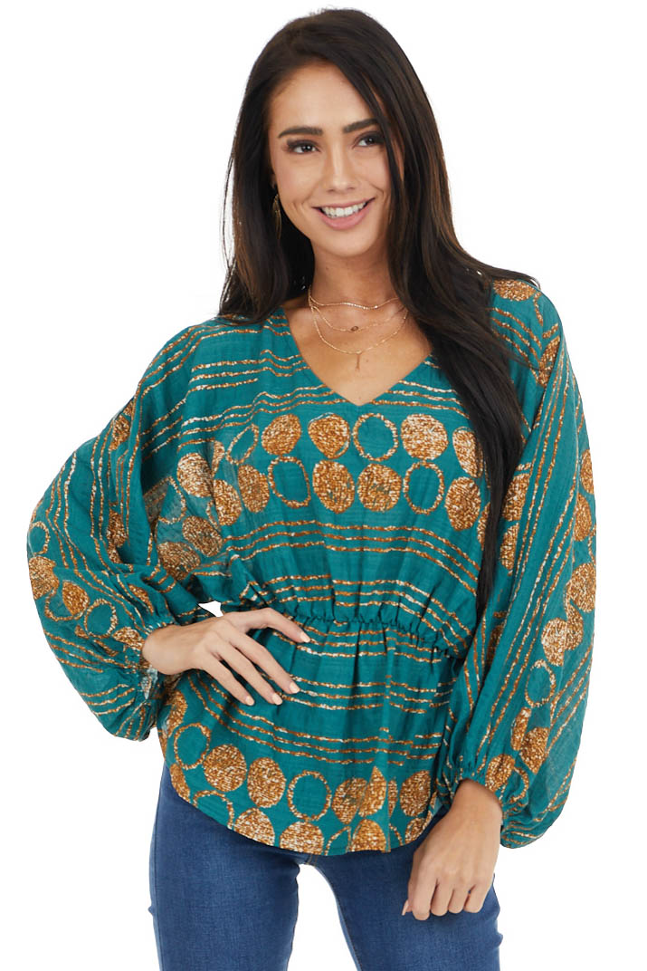 Teal Printed Long Bubble Sleeve Top with Elastic Waistline