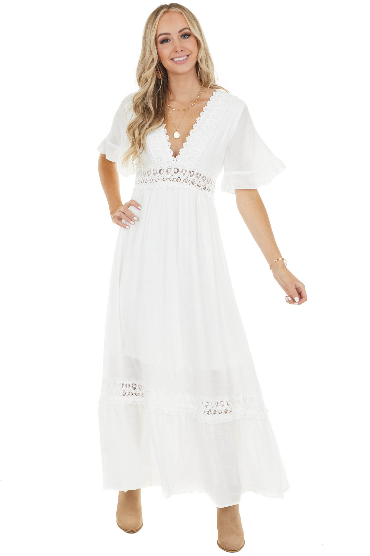 Off White Short Ruffle Sleeve Maxi Dress with Lace Details