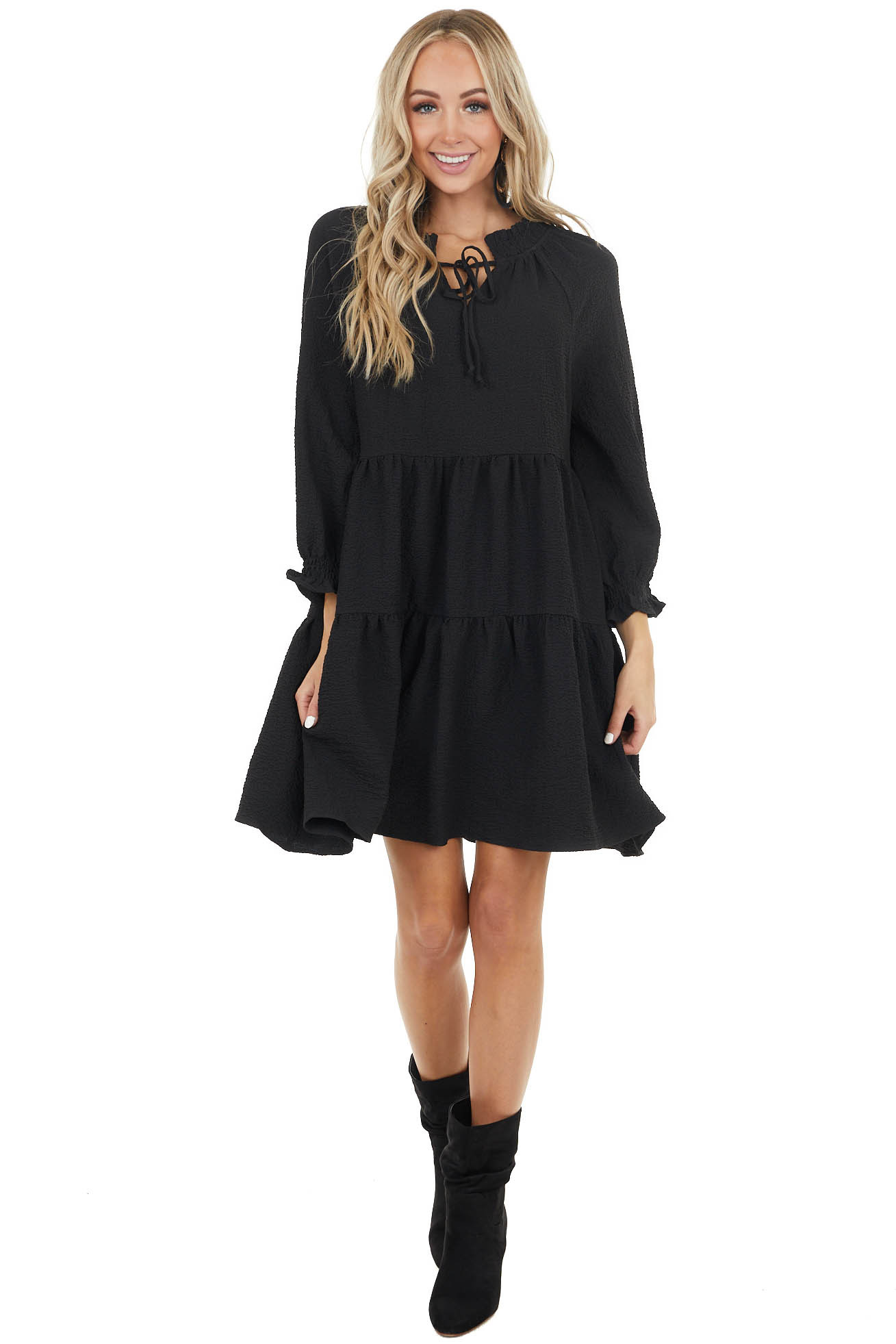 Black Textured Babydoll Mini Dress with Ruffle Details