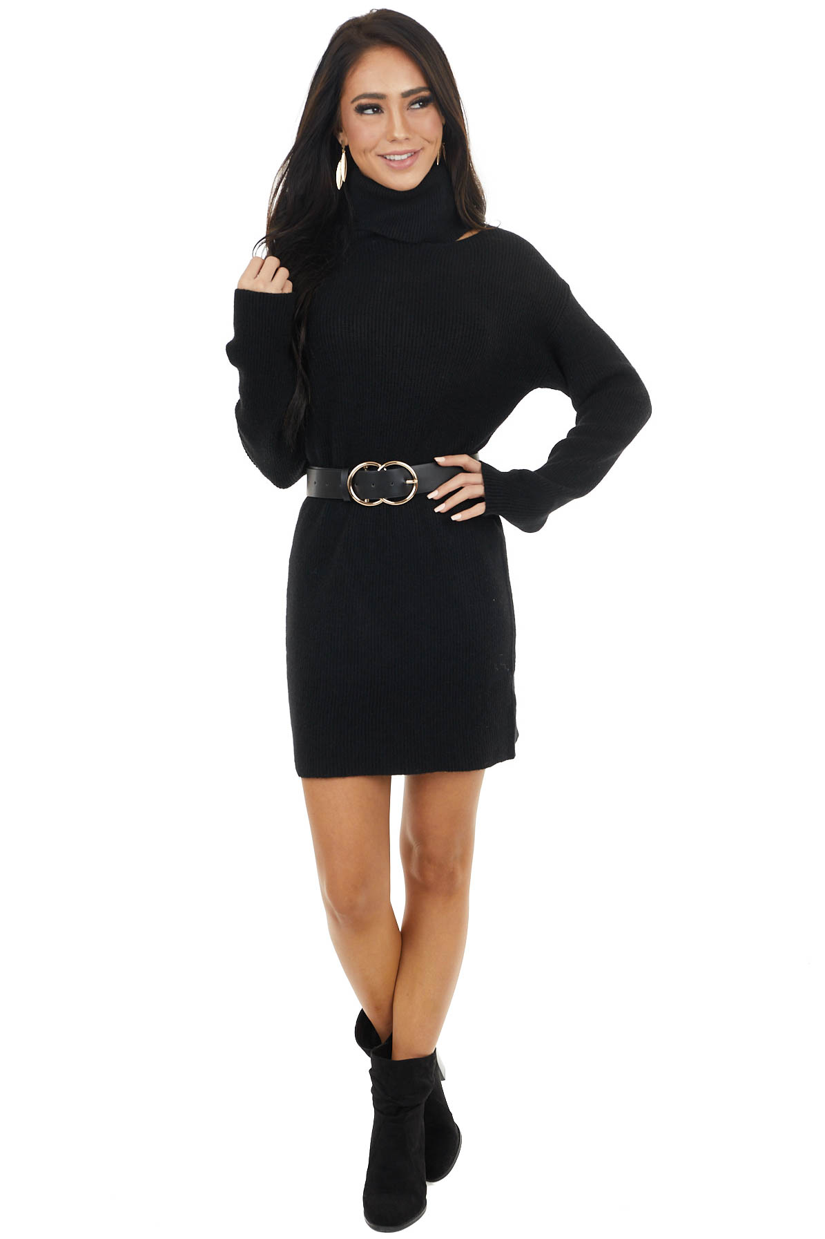 Black Ribbed Turtleneck Mini Sweater Dress with Cut Out